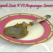 Antique French Sterling Silver and Dore Bronze Asparagus Server