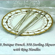 Set 8 Antique French Sterling Silver Skewers with Ring Handles