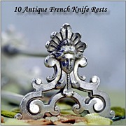 Set 11 Antique French Silver Knife Rests Mascarons! Froment Meurice Stamp