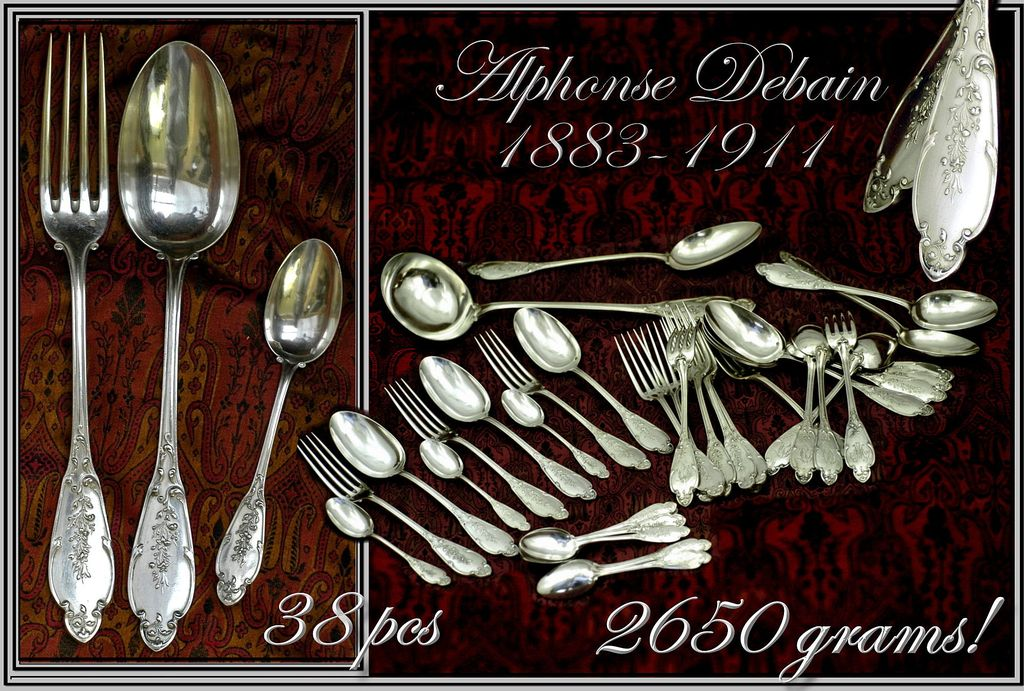Antique Louis XVI French Sterling Flatware Set: 36 Pcs, 2650 Grs!