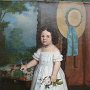 Painting of a little girl in a white dress with a rose by J.Golinbiesky ...