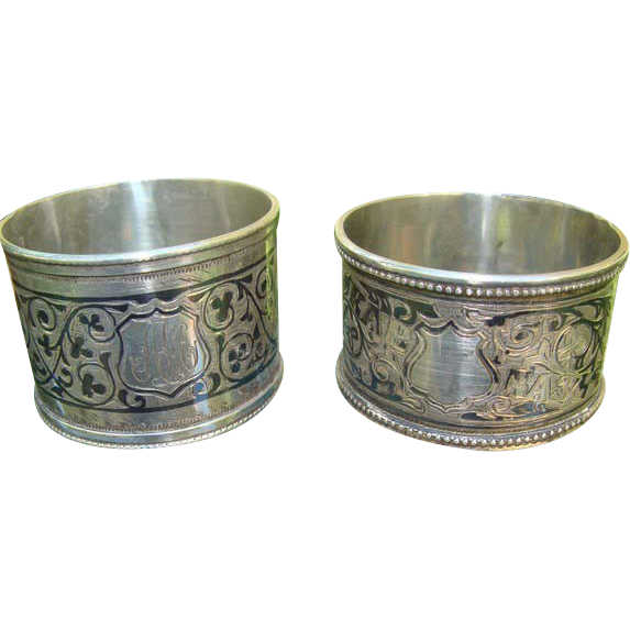 Two Russian silver Napkin rings with rich Niello decoration