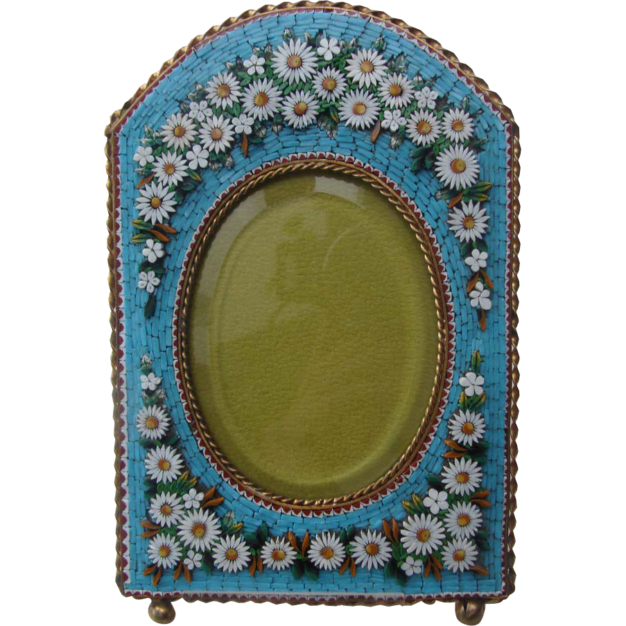Antique Micromosaic frame with lots of white flowers
