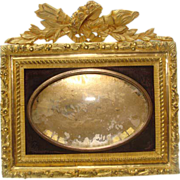 Antique French miniature gilded bronze picture frame