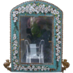 19th century Micromosaic frame with daisies and green leaves