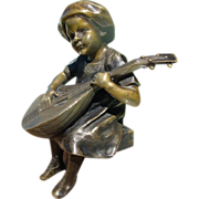 Antique Vienna Bronze mandolin player on an Alabaster base