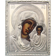 Antique Russian Icon of the Holy Virgin of Kazan