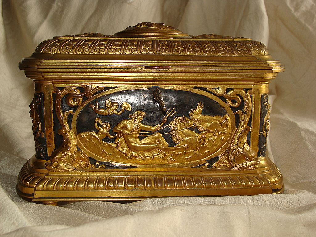 Magnificent French gilt-bronze jewelry casket, 19th century