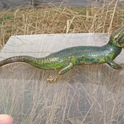 Antique Vienna Bronze of a green lizard signed Bergmann