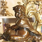 SOLD Very decorative pair of  French gilt bronze fireplace chenets, ca. 1850
