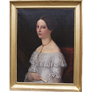 Portrait of a young lady signed by Albert Gr�fle and dated 1838