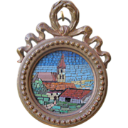 Lovely Micro Mosaic set in a gilded wooden frame, dated at the turn of the 20th century