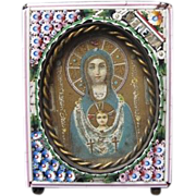 Antique and rare Micro Mosaic frame with an authentic holy picture of the Holy Virgin , early 