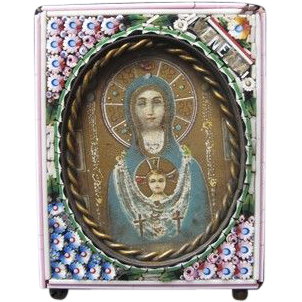 Antique and rare Micro Mosaic frame with an authentic holy picture of the Holy Virgin , early 19th century