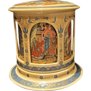 A handcrafted and hand painted paper mache lacquer snuff box, early 20th century