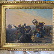 Antique painting depicting an oriental battle scene,19th century