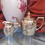 Silver two piece tea service,hallmarked and dated at about 1880