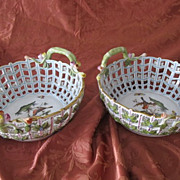 "Two exquisite Herend porcelain basket ""Rothschild"""",first half of 20th century"