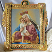 19th century painting,oil on copper, depicting the Holy Virgin holding the little Jesus