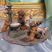 "Antique Vienna Bronze of a group of dogs, signed Bergmann(""NamGreb"")dated at about 1"