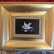 Antique Pietra Dura plaque set in a gilt wood frame, 19th century