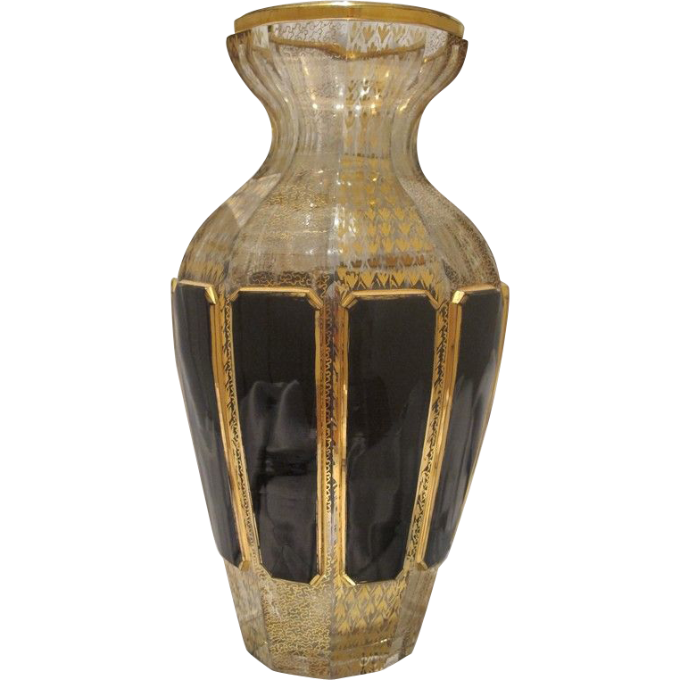 Antique Bohemian crystal glass vase with gold leaf adornment, dated at about 1880