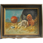 Painting of a dog and a cat looking at chickens, oil on canvas by Enrico Cerrone born in Naple