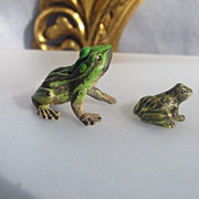 Two Vienna Bronze figures ,modelled and cast as two frogs ,signed Bergman
