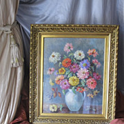 Painting, oil on canvas, depicting colourful Zinnias in a vase, early 20th century