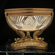 Fine French Gilt Bronze and cut crystal glass bowl, Empire ,early 19th century