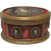 A Florentine gilt brass and Pietra Dura mounted oval casket, 19th century