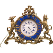 Antique Gilt Bronze table clock adorned with blue enamel signed Jean Morel, first half 19th ce