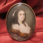 Antique portrait miniature,water colour on copper,gilded silver frame,19th century
