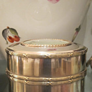 Silver plate tea caddy with etching of a young woman on the lid, early 20th century