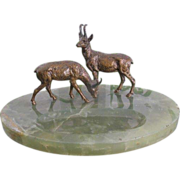 Two Vienna Bronze figures modelled as two deer standing on an oval Nephrite pen tray,early 20t