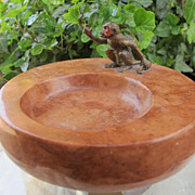 Antique Vienna Bronze figure in the shape of a monkey sitting on a marble ashtray