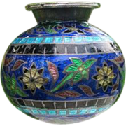 Cloisonne enameled fine silver vase with flowers, late 19th century