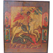 Antique Russian Icon depicting &quot;St. George the Warrior&quot;, 19th century