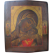Antique Russian Icon depicting the Holy Virgin and the little Jesus, late 19th century