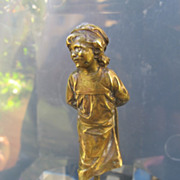 Art Nouveau Vienna Bronze figure depicting a little girl, signed by Otto Rimke, Viennese ...