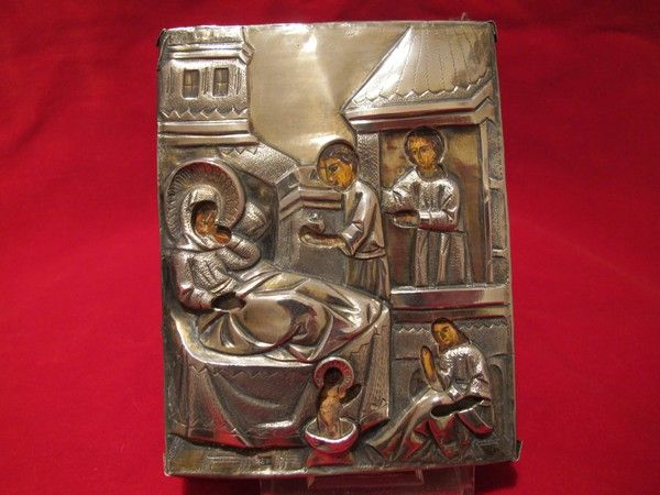 Antique Russian Icon depicting the birth of Saint Nicholas