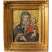 Antique painting of the Holy Virgin holding the little Jesus