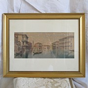 "Eugenio Benvenuti( 1881-1959) ""View of the Grand Canal "", water color, signed"
