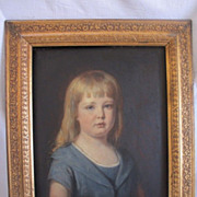 SOLD Portrait of a girl in a blue dress, oil on wood by Eugen Felix ...