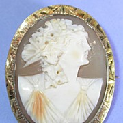 REDUCED 10k Gold Hand Carved Shell Cameo Brooch, Pin, Pendant, Lady