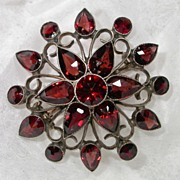 REDUCED Antique Bohemian Garnet Snowflake Brooch/Pin, Layered, Bezel Set Pyrope Garnets