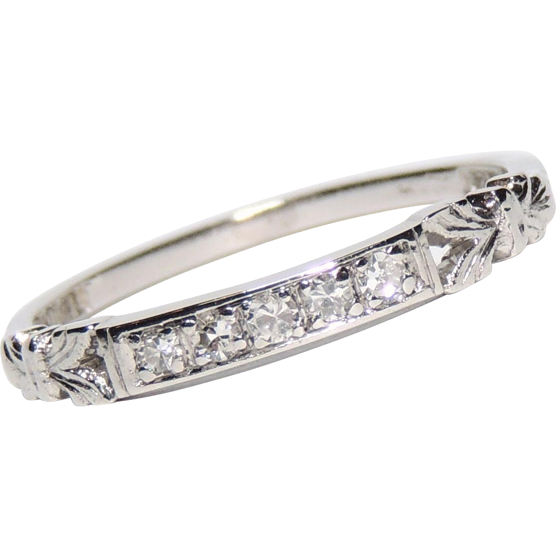 Vintage Platinum Diamond Wedding Band Ring Stacker Stack Size 7 From