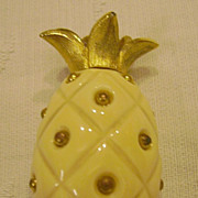 Vintage TRIFARI Gold Tone & Creamy White Plastic Pineapple Pin Signed