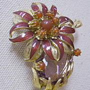 EUGENE 1960s Brooch with Enamel Flower & Stones