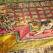 Victorian Chase Buggy Blanket or Lap Throw With Cat & Dog Scene